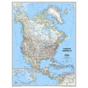 National Geographic Maps North America Classic Wall Map; Standard Size Laminated (30''H x 24''W)