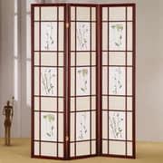 Wildon Home   70'' x 54'' Shoji 3 Panel Room Divider; Cherry