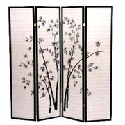 Wildon Home   70'' x 68'' Bamboo Shoji 4 Panel Room Divider