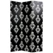 Oriental Furniture Double Sided Damask Canvas Room Divider in Black and White