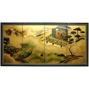 Oriental Furniture 36'' x 72'' Gold Leaf River View 4 Panel Room Divider