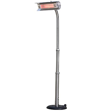Fire Sense® 110 V Stainless Steel Telescoping Offset Pole Mounted Infrared Patio Heater, Silver
