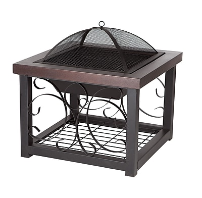 Fire Sense Cocktail Table Fire Pit, Hammer Tone Bronze 382328