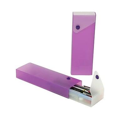 JAM Paper® Sliding Plastic Pencil Case, Purple, Sold Individually (2166513300)