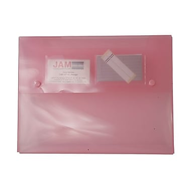 JAM Paper® Portfolio with 2 Button Snap Closure, 9.5 x 12.5 x 0.75, Pink, Sold Individually (520PINK)