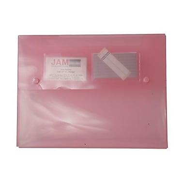 JAM PaperMD – Porte-documents avec fermeture à deux boutons pression, 9 1/2 x 12 1/2 x 3/4 po, rose, 4/paquet