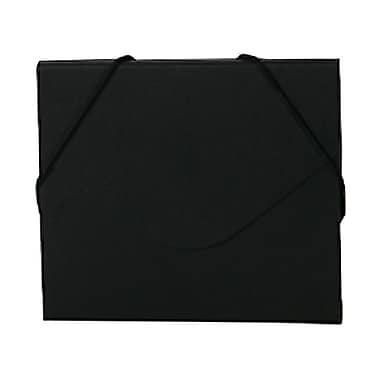 JAM Paper® CD Case Portfolio Envelopes with Elastic Closure, 5 x 5.63 x.38, Black Kraft, 4/Pack (333546g)