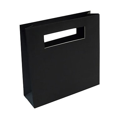 JAM Paper® 8in. x 2 1/2in. x 8in. Matte Heavy Duty Die Cut Gift Bag, Black