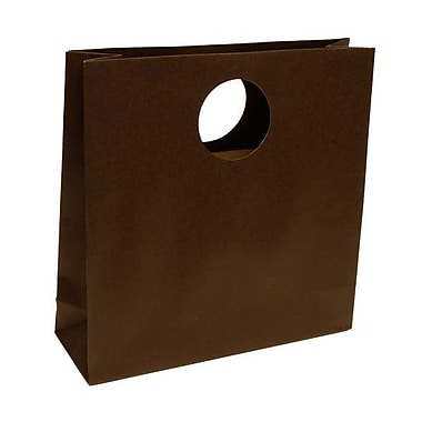 JAM Paper® 12in. x 4in. x 12in. Matte Heavy Duty Die Cut Gift Bag, Chocolate Brown