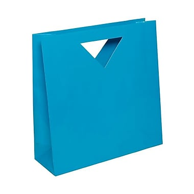 JAM Paper® 12in. x 12in. x 4in. Glossy Heavy Duty Die Cut Gift Bag, Blue, 100/Pack