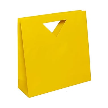 JAM Paper® 12in. x 12in. x 4in. Glossy Heavy Duty Die Cut Gift Bag, Yellow, 100/Pack