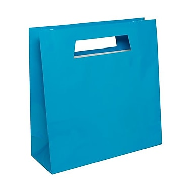JAM Paper® 15in. x 15in. x 5 1/2in. Glossy Heavy Duty Die Cut Gift Bag, Blue