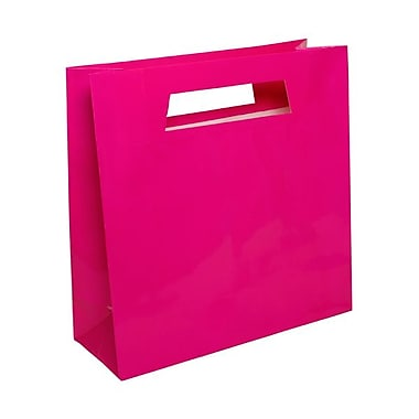 JAM Paper® 15in. x 15in. x 5 1/2in. Glossy Heavy Duty Die Cut Gift Bag, Hot Pink Fuchsia, 100/Pack