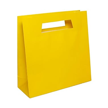 JAM Paper® 15in. x 15in. x 5 1/2in. Glossy Heavy Duty Die Cut Gift Bag, Yellow, 100/Pack