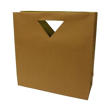 JAM Paper® 15in. x 15in. x 5 1/2in. Matte Heavy Duty Die Cut Gift Bag, Brown Kraft, 100/Pack