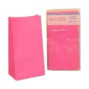 "JAM Paper Kraft Paper 10""H x 5.31""W x 3.25""D Lunch Bags, Diva Fuchsia Pink, 10/Pack"