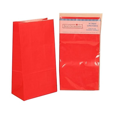 JAM Paper® Kraft Lunch Bags, Medium, 5 5/16 x 10 x 3 1/4, Ravishing Red, 10/pack (14092617)