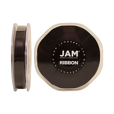 JAM Paper® Double Faced Satin Ribbon, 3/8 Inch Wide x 25 Yards, Black, Sold Individually (803SABL25)