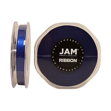 JAM Paper® Double Faced Satin Ribbon, 3/8 Inch Wide x 25 Yards, Royal Blue, Sold Individually (803SAROBU25)
