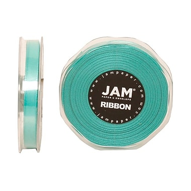 JAM Paper® Double Faced Satin Ribbon, 3/8 Inch Wide x 25 Yards, Teal Blue, Sold Individually (803SATIBU25)