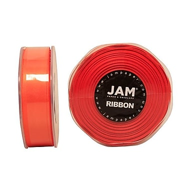 JAM Paper® Double Faced Satin Ribbon, 7/8 Inch Wide x 25 Yards, Orange, Sold Individually (807SAOR25)