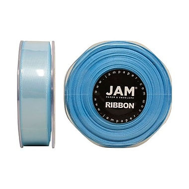 JAM Paper® Double Faced Satin Ribbon, 7/8 Inch Wide x 25 Yards, Light Blue, Sold Individually (807SALTBU25)