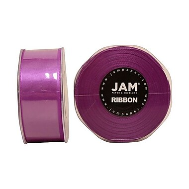 JAM Paper® Double Faced Satin Ribbon, 1.5 Inch Wide x 25 Yards, Purple, Sold Individually (808SAPU25)