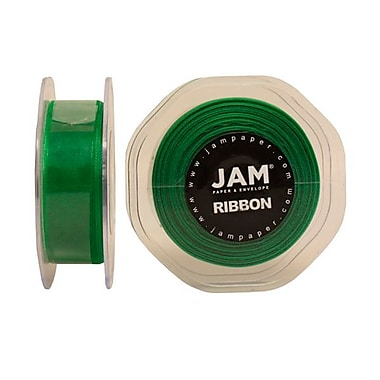 JAM Paper® Sheer Organza Ribbon, 7/8 Inch Wide x 25 Yards, Emerald Green, Sold Individually (807SHEMGR25)