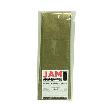 JAM Paper® Shimmer Tissue Paper, Antique Brass Gold Metallic, 3/Pack (1162408)