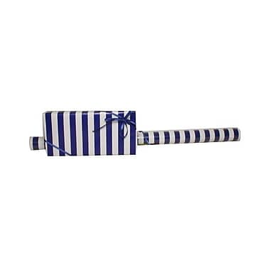 JAM Paper® Gift Wrapping Paper, Jumbo, 30 sq. ft., Blue and White Striped, Sold Individually (2226516998)