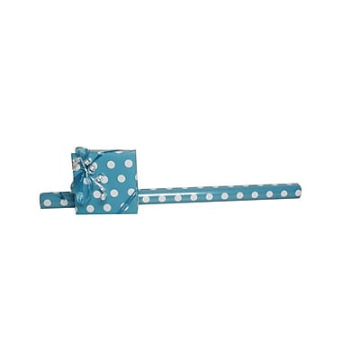 JAM Paper® Polka Dot Gift Wrapping Paper, Jumbo 40 sq. ft., Blue with White Dots, Sold Individually (2226416993)