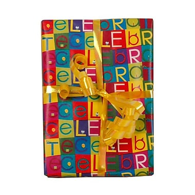 JAM Paper® 2.5' x 6' Colorful Celebrate Wrapping Paper, Assorted, Sold Individually