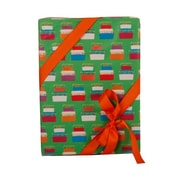 JAM Paper® 15 sq ft Birthday Cake Wrapping Paper, Green, Sold Individually