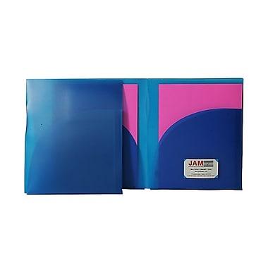 JAM Paper® Plastic High Capacity Two Pocket Presentation Folders, Blue, 10/Pack (v090396g)