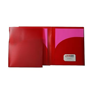 JAM Paper® Plastic High Capacity Two Pocket Presentation Folders, Red, 10/Pack (v090398g)