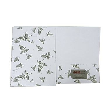 JAM Paper® 9in. x 12in. Two Pocket Handmade Presentation Folder, White With Green Fern