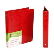 JAM Paper® Premium Crocodile Textured 3 Ring Binders, 1 Inch, Red, Sold Individually (751CRE)