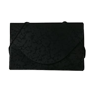 JAM Paper® Plastic Business Card Case With Round Flap, Black and Black Composition