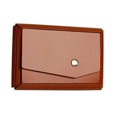 Jam Paper® Leather Business Card Case With Angular Flap, Brown