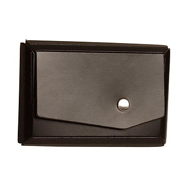 JAM Paper® Leather Business Card Case With Angular Flap, Black