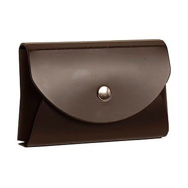 Jam Paper® Leather Business Card Case With Round Flap, Dark Brown