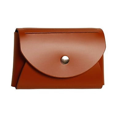 Jam Paper® Leather Business Card Case With Round Flap, Brown
