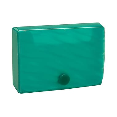JAM Paper® Plastic Business Card Case with Snap Closure, Green Wave, 5/Pack (245012472g)