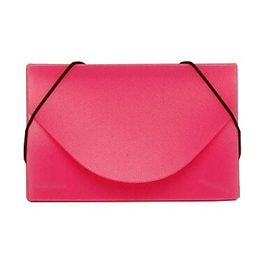 Jam Paper® Plastic Solid Business Card Case With Round Flap, Pink