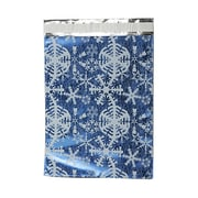 "JAM Paper® 9"" x 12"" Open End Catalog Foil Envelope, Blue White Snowflake, 100/Pack"