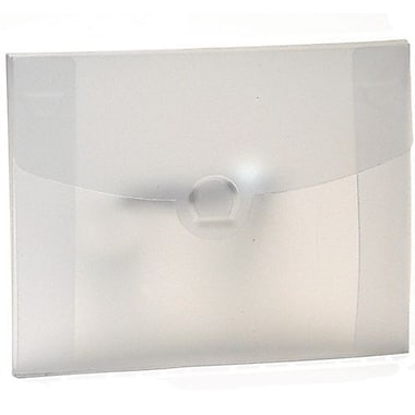 JAM Paper® Plastic Portfolio with Tuck Flap Closure, 8.5 x 6.5 x 0.25, Clear Frost, 24/pack (3788B)