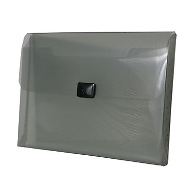 JAM Paper® Plastic Portfolio with Center Buckle Closure, 9 1/2 x 13 1/4 x 1 1/8, Smoke Grey, Sold Individually (559SMOKE)