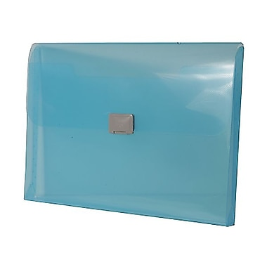 JAM Paper® Plastic Portfolio with Center Buckle Closure, 9.5 x 13.25 x 1 1/8, Blue, 4/Pack (550blueg)