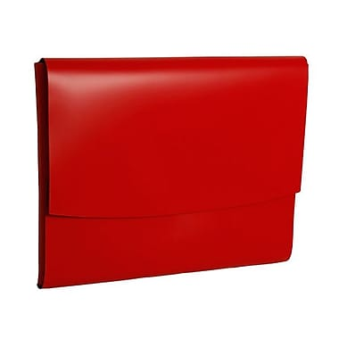 JAM Paper® Italian Leather Portfolio With Snap Closure, 10.5 x 13 x 0.75, Red, 12/Pack (2233317453B)