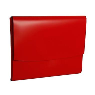 JAM PaperMD – Porte-documents en cuir avec fermeture à bouton pression, 23 1/2 x 13 x 3/4 po, rouge, 12/paquet